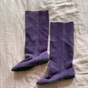 Purple Suede Slouch Knee High Boots- Size 8.5